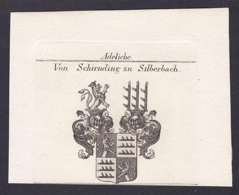 Schirnding Franken Silberbach Wappen Adel coat of arms Kupferstich antique print