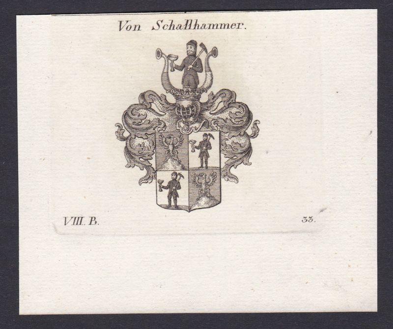 Schalhammer Schallhammer Wappen Adel coat of arms Kupferstich antique print