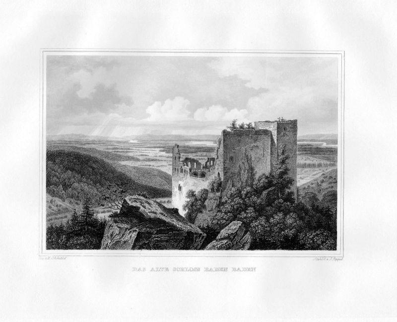 1850 Das alte Schloss Baden Baden Baden-Württemberg Stahlstich Poppel Schönfeld