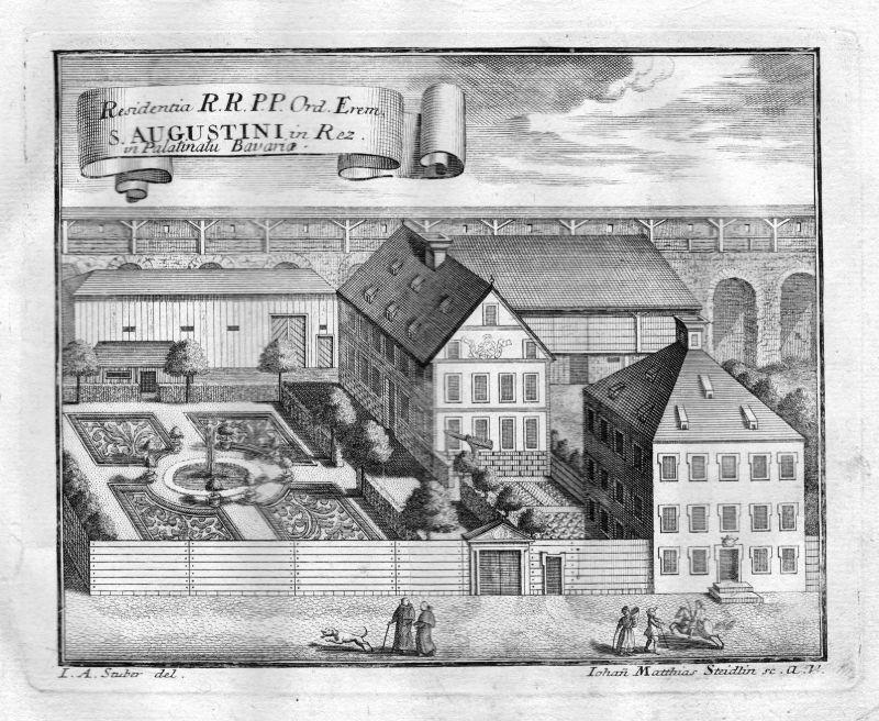 1731 Rötz Oberpfalz Bayern Kloster Kupferstich antique print Steidlin