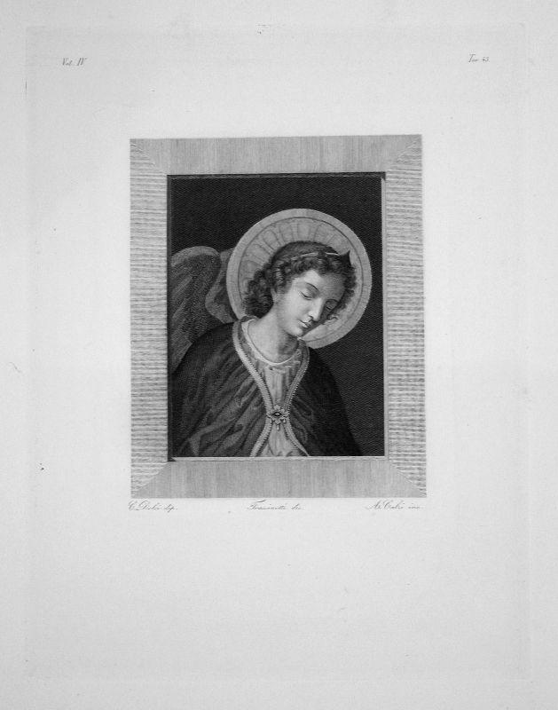 Carlo Dolci Portrait Frau woman Engel Flügel wing Radierung engraving gravure