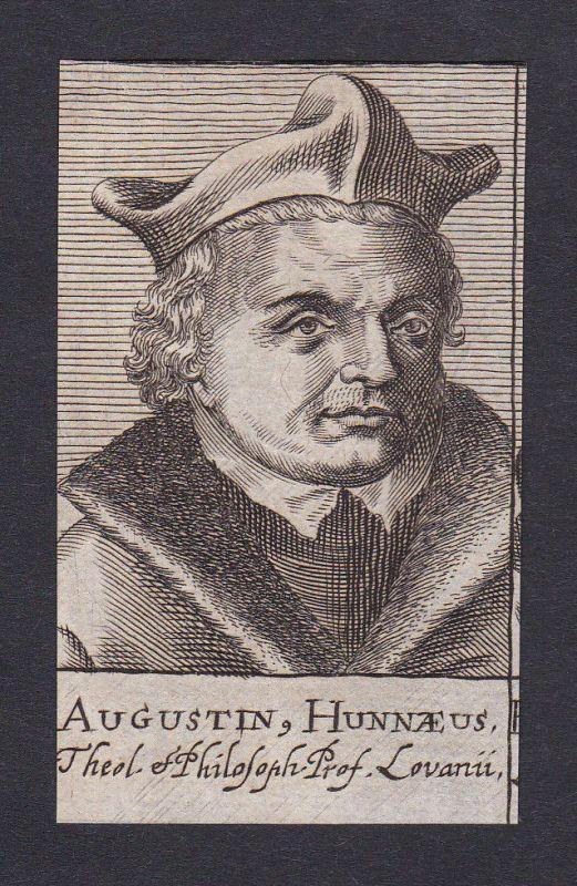 17. Jh. Augustinus Hunnäus / theologian Theologe Löwen Portrait Kupferstich