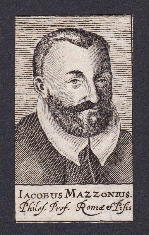 17. Jh. Jacopo Mazzoni / philosopher Philosoph Rom Portrait Kupferstich
