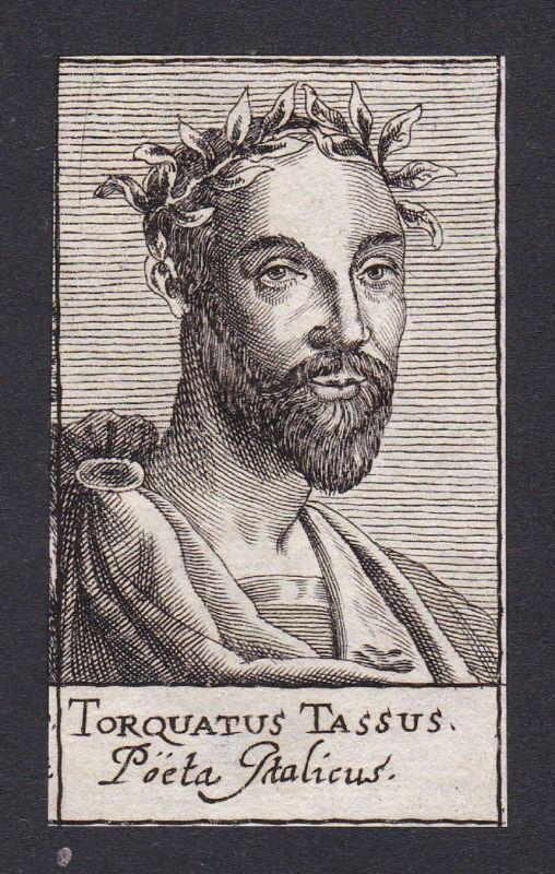 17. Jh. Torquato Tasso / poet Dichter Italien Portrait Kupferstich