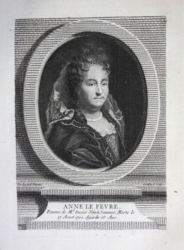 18. Jh. Anne Dacier Le Fevre translator France gravure Kuperstich Portrait