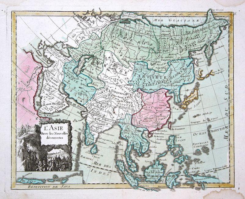1767 Asien Asia Kontinent continent Karte map Kupferstich antique print Le Rouge