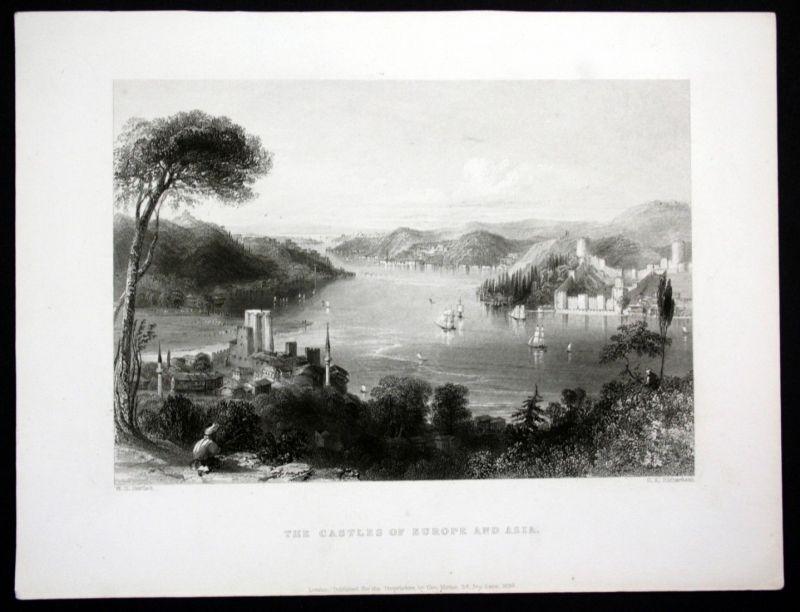 1839 Bosporus Meerenge Asien Europa Ansicht Stahlstich steel engraving