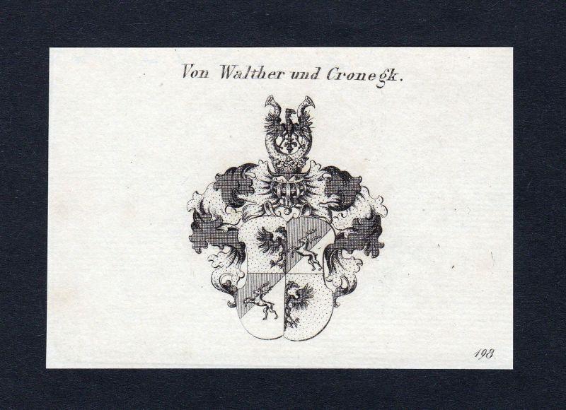 1820 Walther Cronegk Wappen Adel coat of arms Heraldik Kupferstich engraving