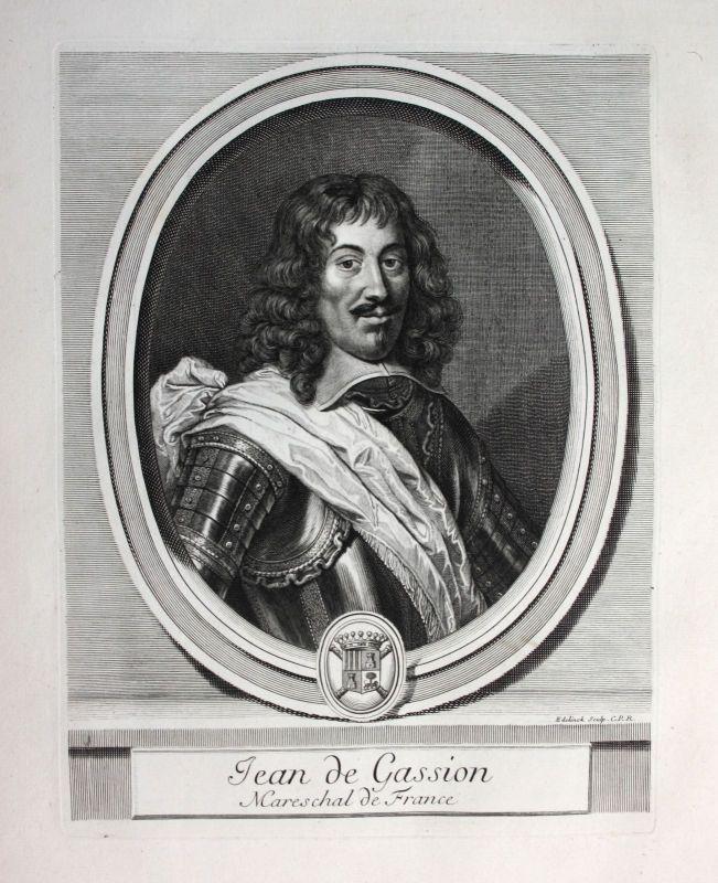 Ca. 1700 Jean de Gassion marechal Marschall President Navarre Portrait gravure