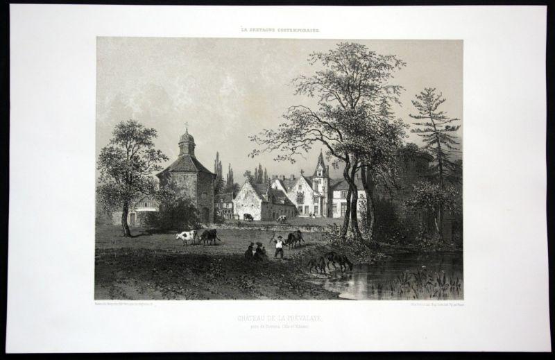 1860 Chateau de la Prevalaye Rennes vue Bretagne Frankreich France Lithographie