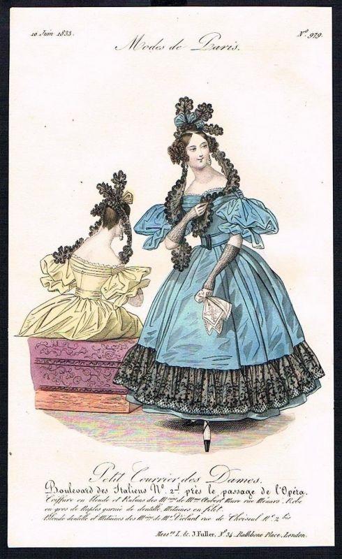 1833  Biedermeier Mode Kupferstich victorian fashion antique print Paris e 61707