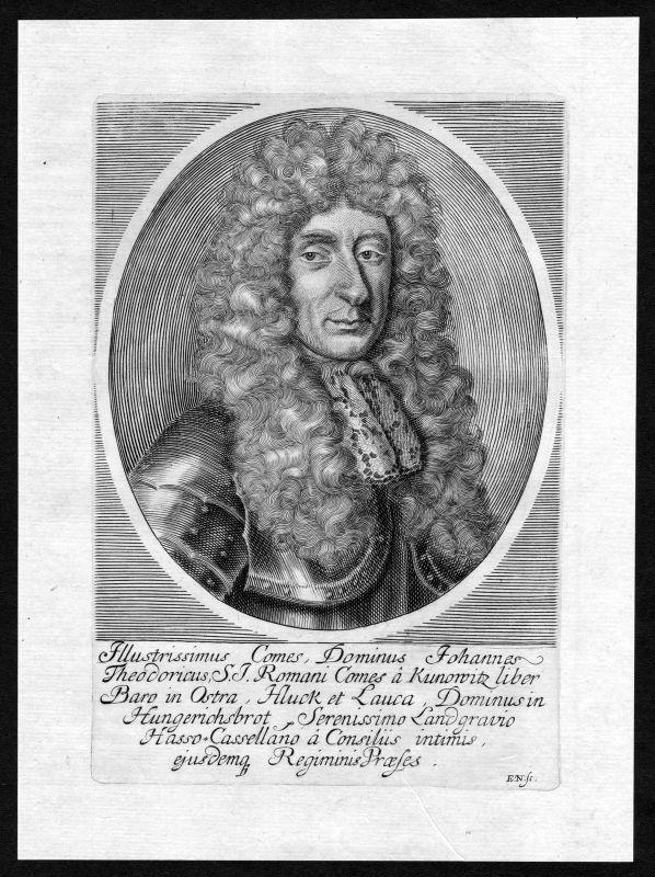 17. Jh. Johann Theodor Kunowitz Reichsgraf Portrait Kupferstich antique print