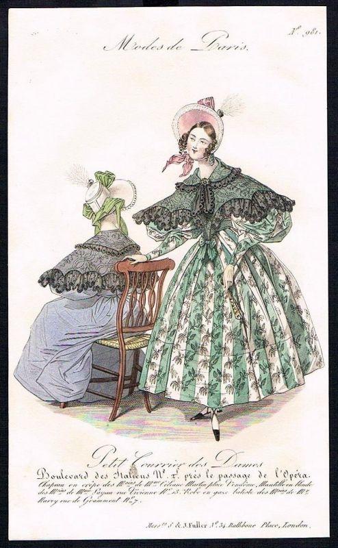 1833  Biedermeier Mode Kupferstich victorian fashion antique print Paris e 89241