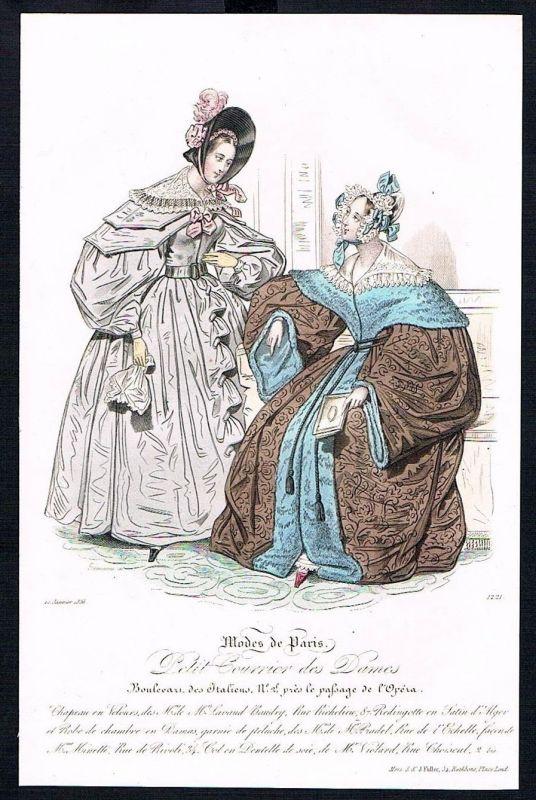 1836  Biedermeier Mode Kupferstich victorian fashion antique print Paris e 89291