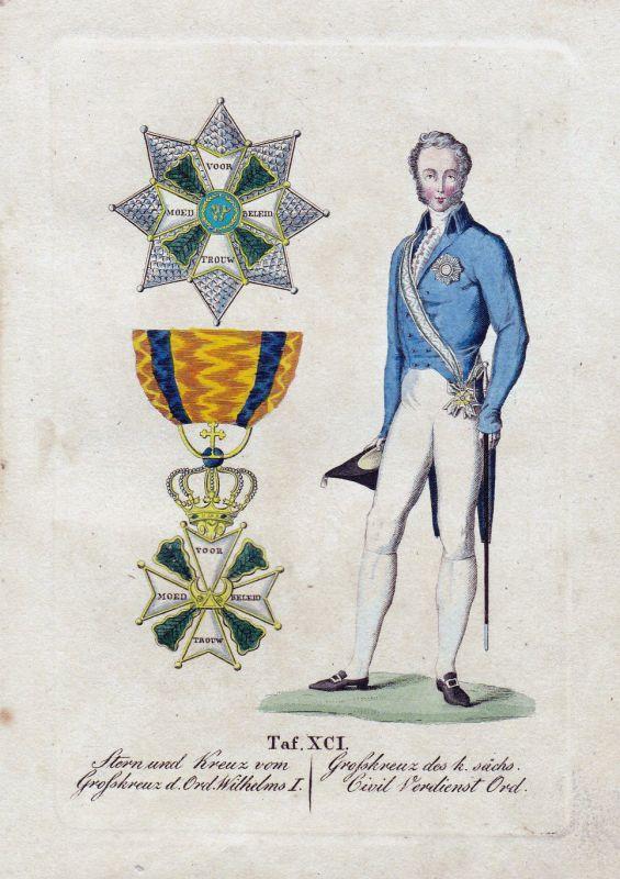 Orden Stern und Kreuz Großkreuz d. Wilhelms I. Civil Verdienst Kupferstich