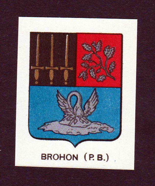 Ca. 1880 Brohon Wappen Adel coat of arms heraldry Lithographie antique pr 146258