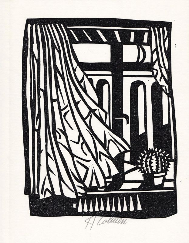 1985 Karl Cohnen Ingo Cesaro Linolschnitt zu einem Gedicht signiert