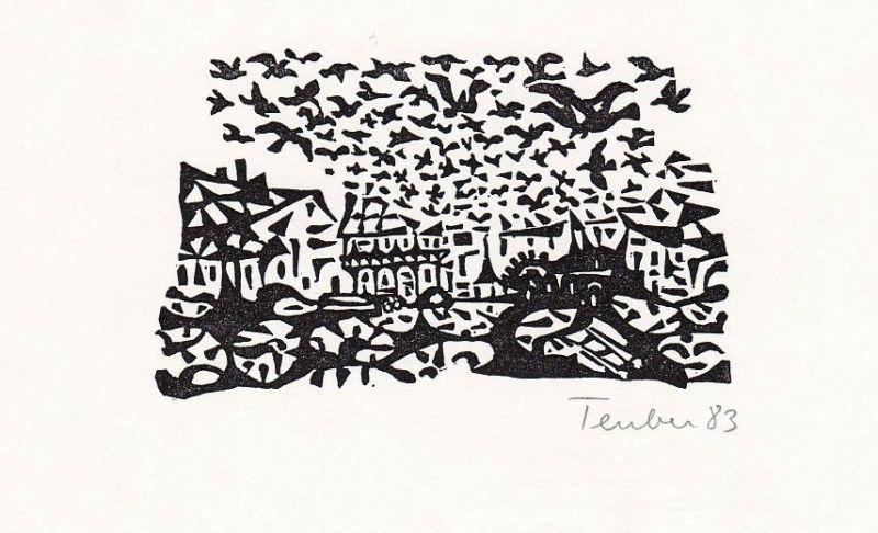 1984 Gottfried Teuber Linolshcnitt aus Buch