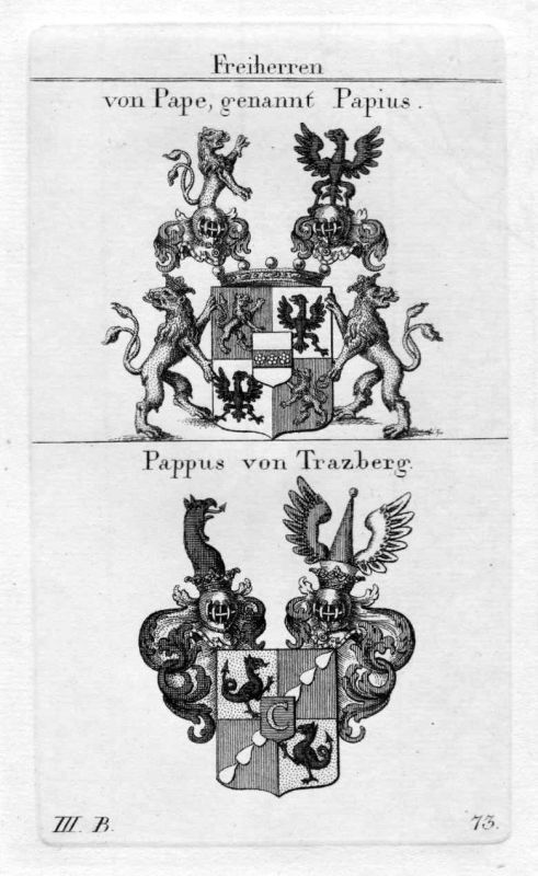 Pape Papius Pappus - Wappen Adel coat of arms heraldry Heraldik Kupferstich