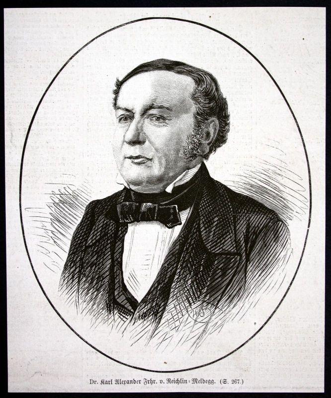 1877 Karl Alexander Reichlin Meldegg Portrait Philosoph Holzstich antique print
