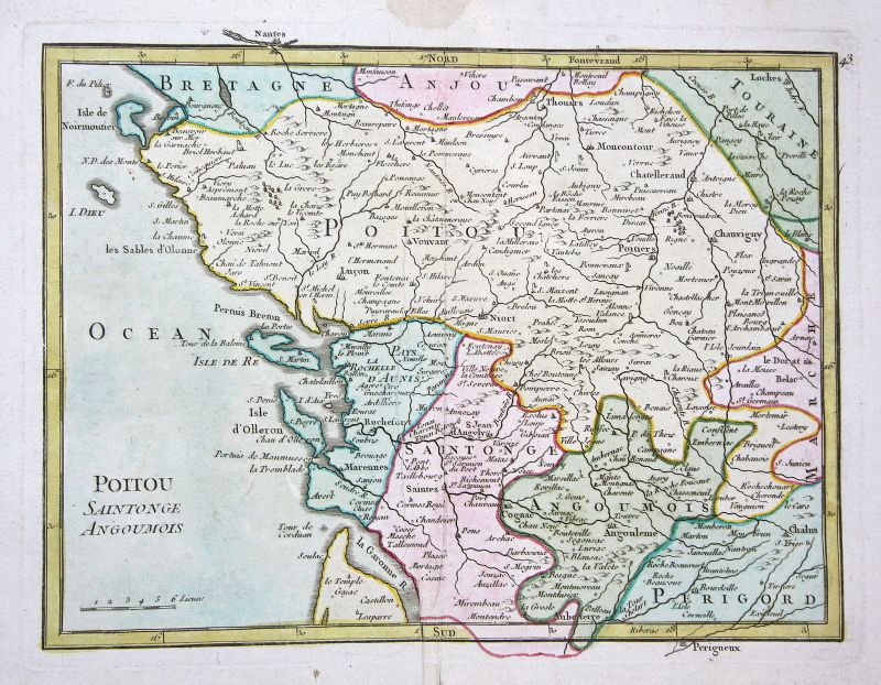 1767 La Rochelle France gravure carte map Kupferstich antique print Le Ro 159532
