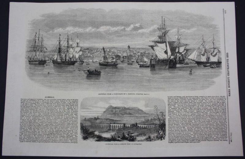 1859 Algeciras Spain Espana Gibraltar view Ansicht Holzschnitt antique print