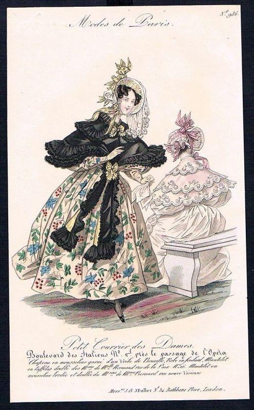 1833  Biedermeier Mode Kupferstich victorian fashion antique print Paris e 61711