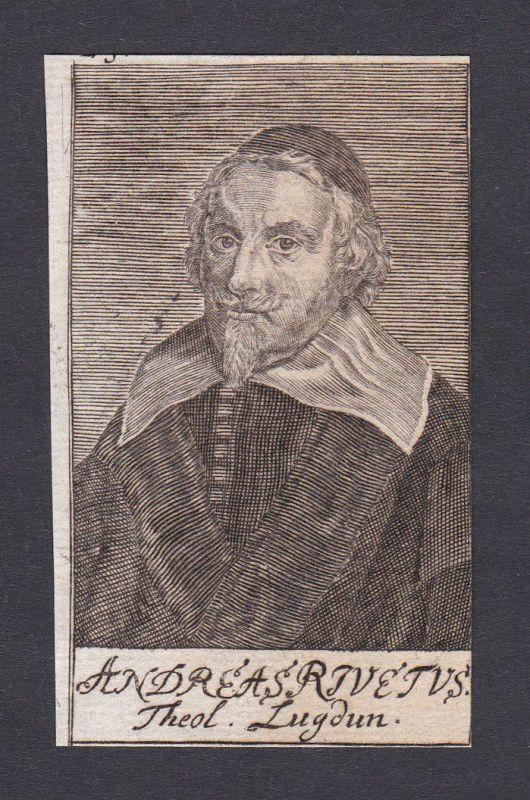 17. Jh. André Rivet / theologian Theologe Leiden Portrait Kupferstich
