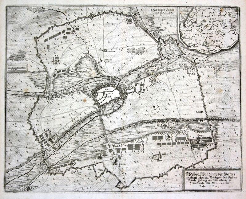 Ca. 1645 Aire sur la Lys bataille gravure plan Kupferstich antique print Merian