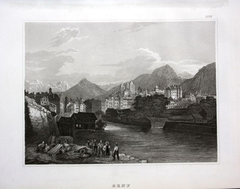 1850 Genf Geneve vue gravure Schweiz Panorama Ansicht Stahlstich antique print