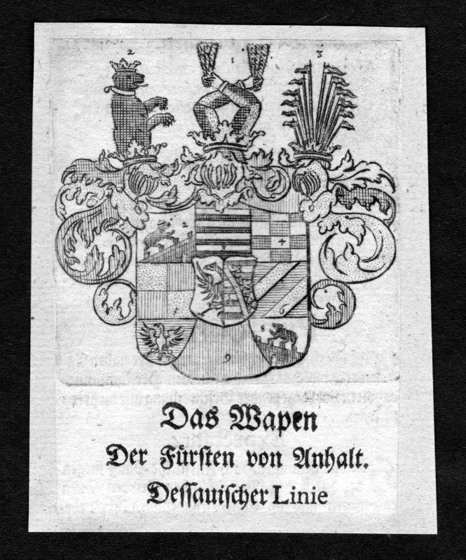 1750 - Anhalt Dessauische Linie Wappen Adel coat of arms heraldry Heraldik