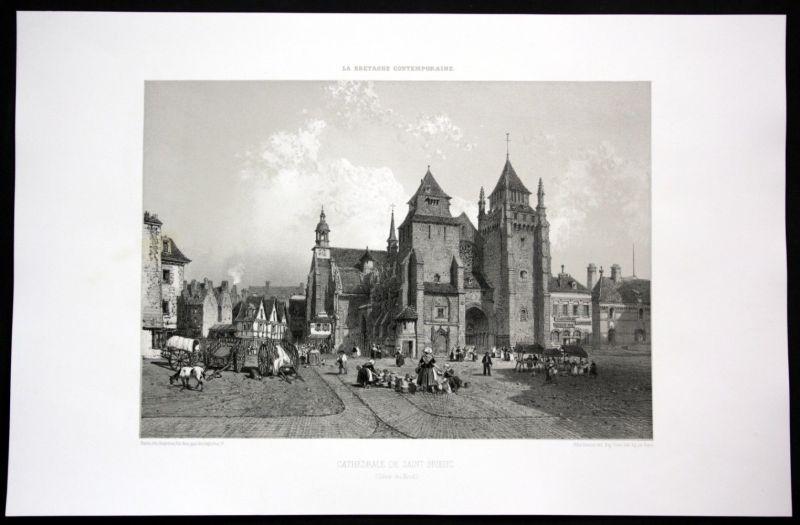 Ca. 1860 Cathedrale de Saint Brieuc Bretagne Frankreich France Lithographie