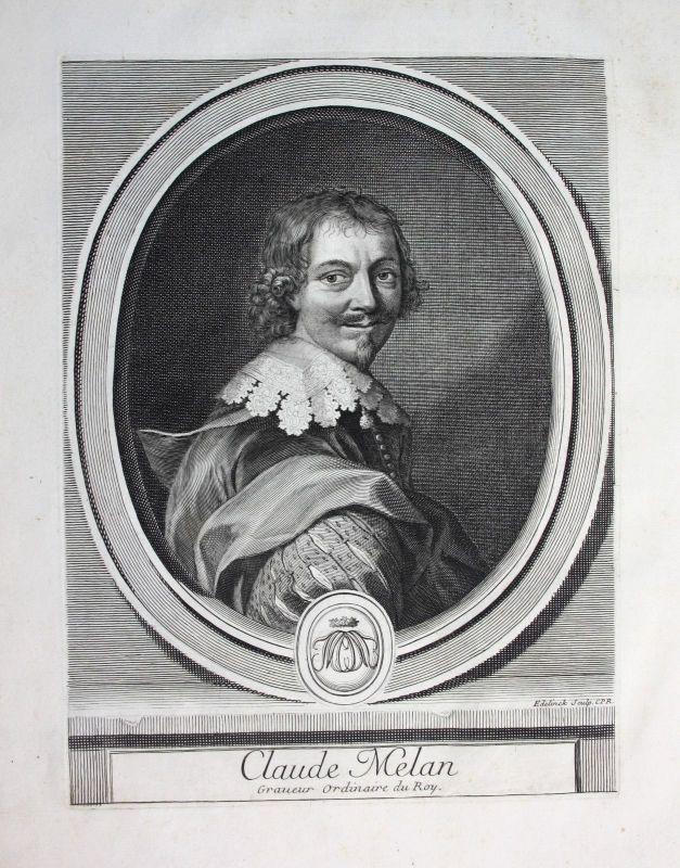 Ca. 1700 Claude Mellan graveur Kupferstecher peintre Zeichner Portrait gravure