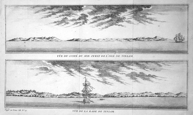Ca. 1750 Marianen Mariana Islands Tinian Ansicht view Kupferstich antique print