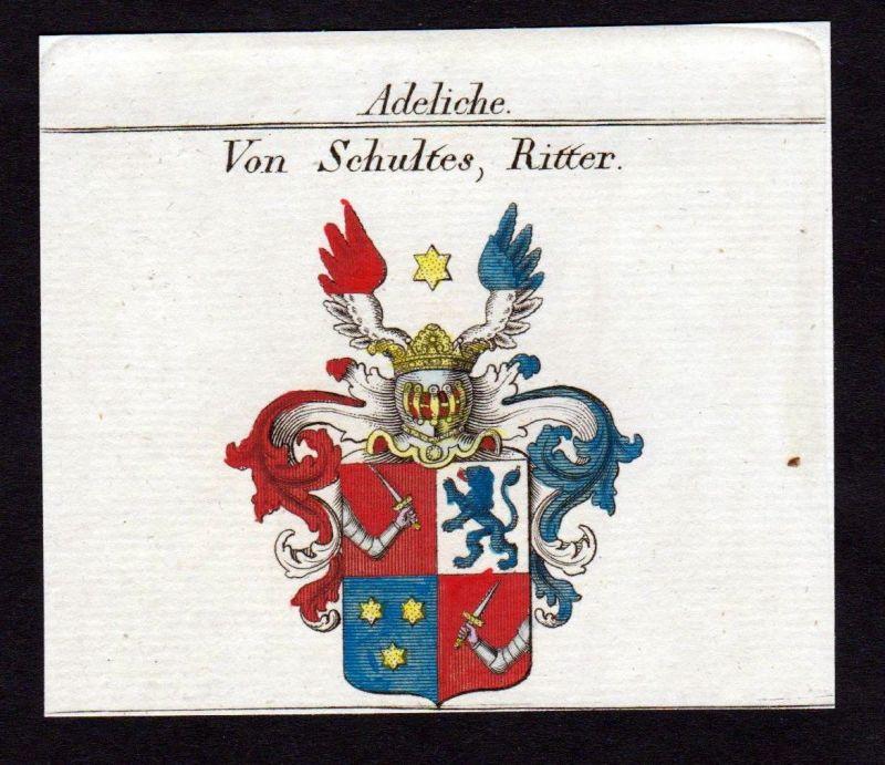 1820 -  Schultes Wappen Adel coat of arms heraldry Heraldik Kupferstich