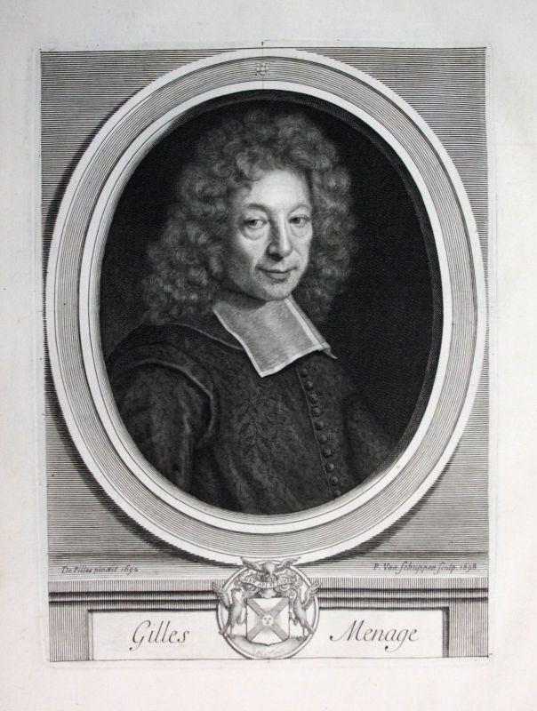 Ca. 1700 Gilles Menage grammairien historien Portrait Kupferstich engraving