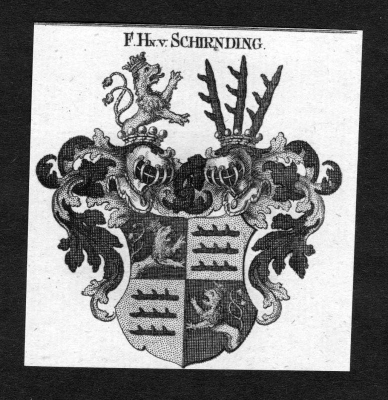 1820 - Schirnding Wappen Adel coat of arms heraldry Heraldik Kupferstich