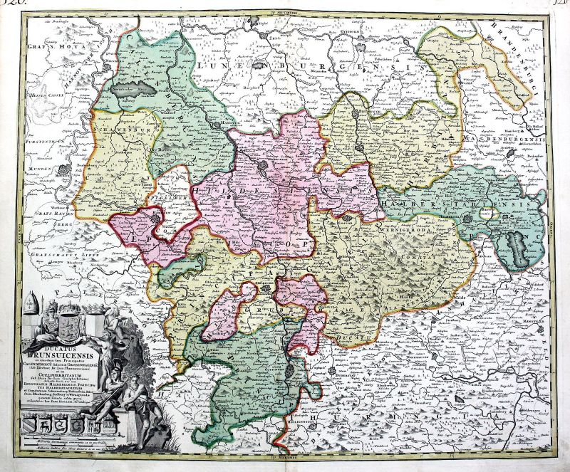 1720 Braunschweig Hildesheim Hameln Karte map Kupferstich antique print Homann