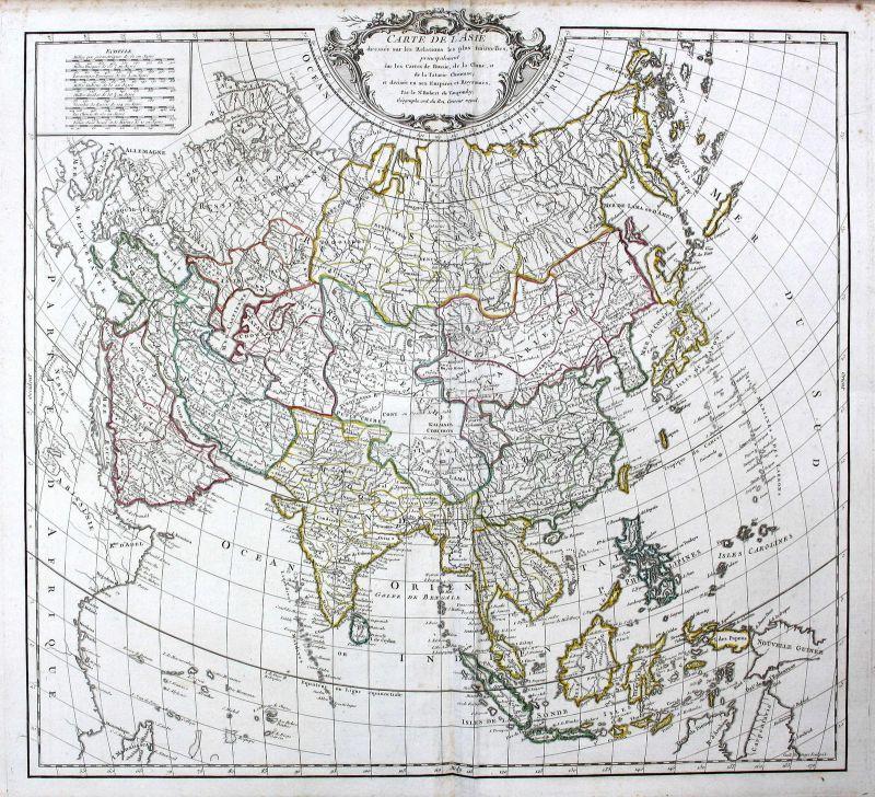 1755 China Indien India Thailand Philippines Asia Asien Karte map Kupferstich