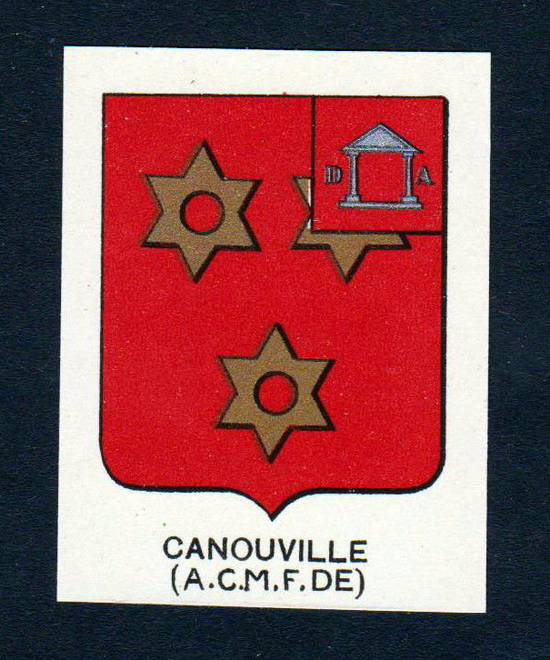Ca. 1880 Canouville Wappen Adel coat of arms heraldry Lithographie antiqu 146196