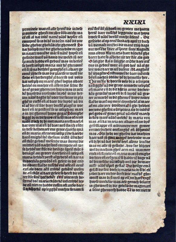1499 Blatt XXIXI Inkunabel Vita Christi Zwolle incunable Dutch Holland