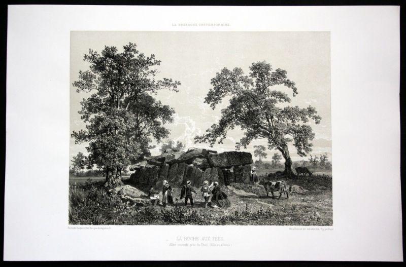 1860 Esse la Roche aux Fees vue Ansicht Bretagne Frankreich France Lithographie