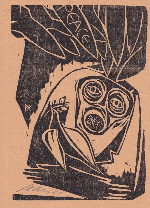 1987 Paul Reding Original-Holzschnitt zu eigenen Text des Künstlers signiert