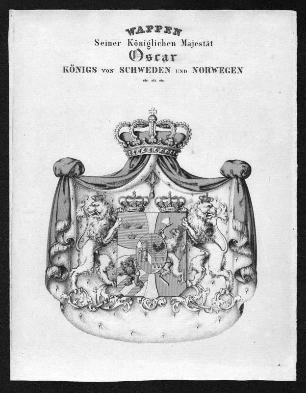 1820 Schweden Norwegen Sweden Norway Wappen Adel coat of arms heraldry Heraldik