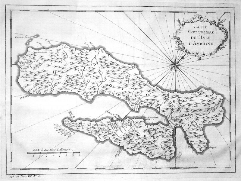 1750 Ambon Molukken Maluku Indonesien Indonesia Karte map Kupferstich Bellin