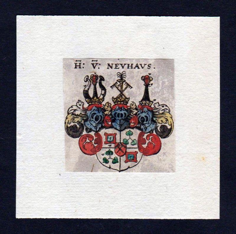 17. Jh von Neuhaus Wappen Adel coat of arms heraldry Heraldik Kupferstich