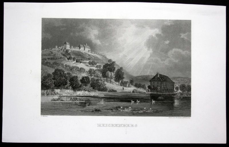 Ca. 1850 Reichenberg Ansicht view Stahlstich steel engraving