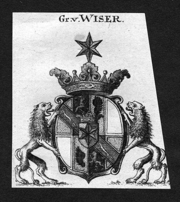 1820 - Wiser Wappen Adel coat of arms heraldry Heraldik Kupferstich