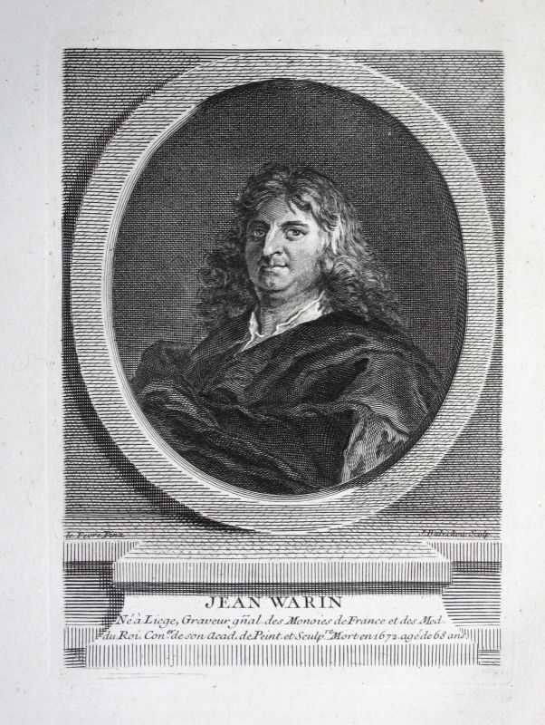 18. Jh. Jean Varin sculpteur sculptor Kupferstich Portrait gravure engraving