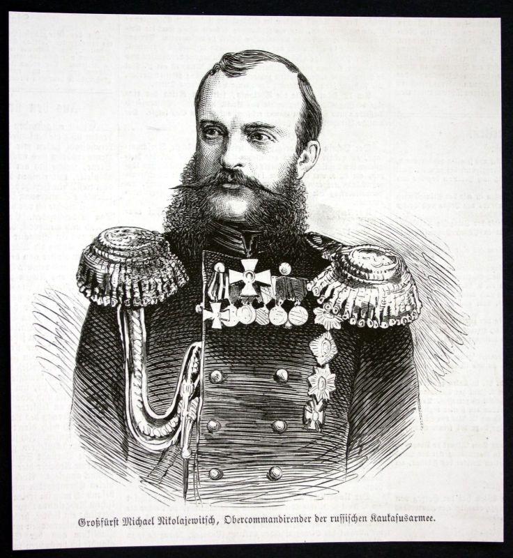 1877 Michael Nikolajewitsch Romanow Großfürst Portrait Holzstich antique print